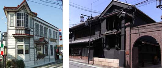 旧六軒町郵便局(登録有形文化財)と山崎茶店(市指定文化財)
